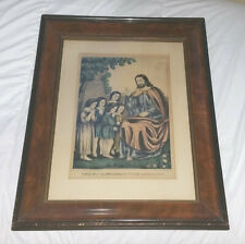 KELLOGG AND COMSTOCK antique lithograph - Christ Blessing The Little Children
