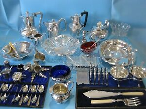 Lovely Large Job Lot Antique Silver Plated Items Vintage Items & Plated Cutlery