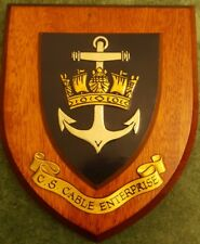 Vintage Cable Ship  CABLE ENTERPRISE Painted Royal Navy Ship Badge Shield Plaque