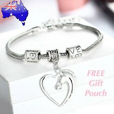 Horse Pony Love Heart Silver Charm Bracelet Bangle Women's Jewellery Lover Gift