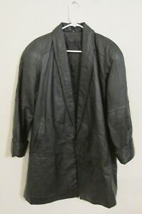 Women's Vintage Jacqueline Ferrar Long Black Leather Jacket Coat Size 8 Medium