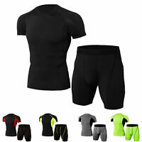Mens Workout Outfit Compression Set Basketball Gym Tracksuits Quick-dry Stretchy