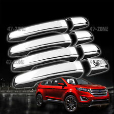 For 11-14 Ford Edge ABS Plastic Chrome Door Handle Cover Cap Set No Pass Keyhole