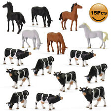 15pcs Model Trains O Scale Painted Horses Cows 1:43 PVC Animals Desktop Decor