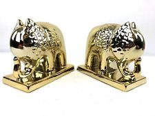 2 Happy Chic Jonathan Adler Gold Tone Ceramic Elephant Bookends Pair SUPERB