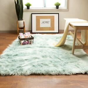 Fluffy Faux Sheepskin Shag Rug Silky Mat Bedside Throw Rug, 3' x 5' Rectangle
