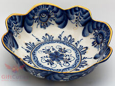 Gzhel Porcelain salad dish bowl server platter gold Hand-painted authors work