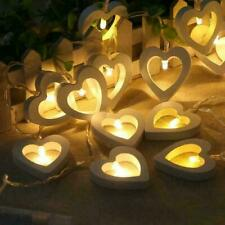 LED String Fairy Lights Lamp Heart Wooden Xmas Wedding Party Home Romantic Decor