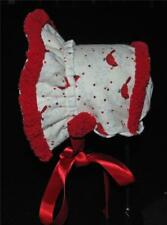 Handmade White with Red Cardinals Sherpa Lined Bonnet