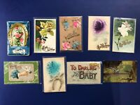 9 Novelty Add-On Antique Postcards 1900s. Collector Items. Nice w Value