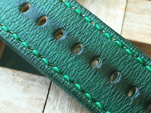 24 mm handmade ,leather watch strap. Light tan .130/80/4mm .Emerald green .