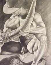 "9"" x 12"" drawing print nude male kneeling cowboy gay interest"