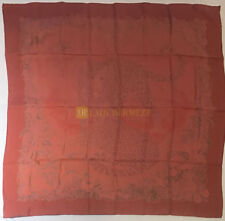 Authentic 90 cm HERMES silk scarf Jungle Love dans Faded Red