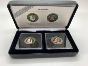 SAUDI ARABIA 2016 Riyal & 2 Riyals Colored Coin Bimetallic with box King Salman