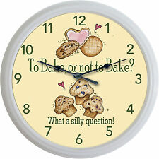 Bakery Cake Cookies Cupcakes Wall Clock To Bake Or Not To Bake..... New 10""