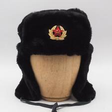 HIVER CHAUD CAP TRAPPEUR RUSSE CHAPEAU VERT OLIVE OREILLE VOLETS LAPIN BRUN FOUR
