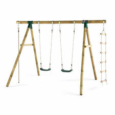 NEW Plum Wooden Gibbon Swing Set Plastic Seats Rope Ladder Sustainable Timber Ou