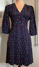 Marc by Marc Jacobs 100% Silk Navy Red Pink Multicolour Blouson Sleeve Dress UK8