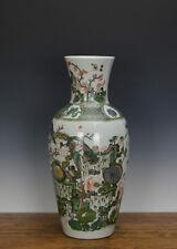 Chinese Famille Verte Garden Scene Porcelain Vase