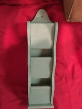 Vintage Solid Wood Mail Letter Bill Organizer 3 Slots, Hangs Wall 21 1/4 X 5 1/2