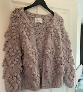 Chicwish knitted grey lavender purple bobble knit your love cardigan