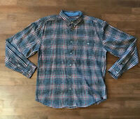 WOOLRICH Vintage Plaid Check Grey Red Flannel Shirt Size Medium M Black Heather