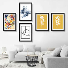 Original GALLERY WALL SET Abstract Roses Flowers Ferns PRINT of painting picture