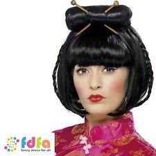 BLACK CHINESE ORIENTAL LADY WIG & CHOPSTICKS ladies womens fancy dress costume