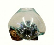 Small Molten Glass Bowl & Wood Sculpture Vase