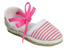 "For 18"" American Girl Doll Clothes Hot Pink White Striped Espadrille Shoes"