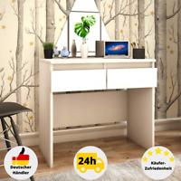 Schreibtisch Weiß Hochglanz Computertisch Bürotisch Arbeitstisch mit Schubladen