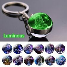 12 Constellation Solar System Planet Galaxy Keychain Double Side Glass Ball Hot