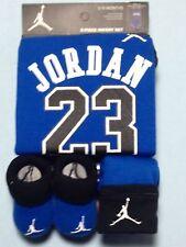 AIR JORDAN Baby BOYS 3 pc Outfit GIF SET Bodysuit, Cap & Booties  0-6 M.with box