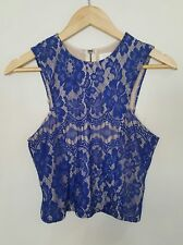 4d3682dd6c7311 Lily Whyt Blue Lace Crop Top Fitted Size 8 Ladies Party Floral Women's  Ladies