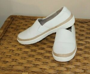 CLARKS LEATHER SLIP ON SHOES MARIE SAIL WHITE 7 W 7 WIDE