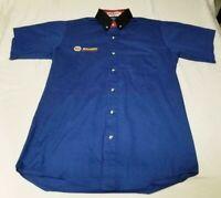 Napa Auto Parts Button Up down vintage Mechanic Short Sleeve Blue Shirt M L 3XL