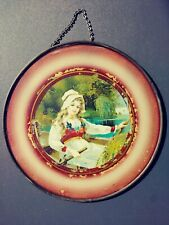 Vintage Antique Glass Chimney Flue Cover - Victorian Maiden