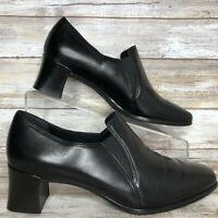 Munro Liz Black Leather Bootie Block Heel Slip On Round Toe Womens 8M