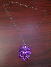 Ladies Purple Cluster  Pendant Necklace