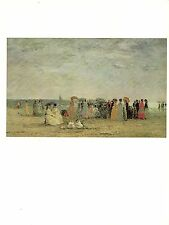 """1977 Vintage IMPRESSIONISM """"BATHERS ON THE BEACH AT TROUVILLE"""" COLOR Lithograph"""