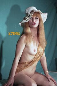 nude gold woman in white hat, 1970s orig fine art negative