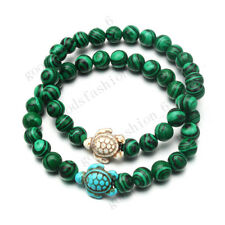 2ps Man Women Natural Malachite Stone Turtle Turquoise Stretch Yoga BRACELET