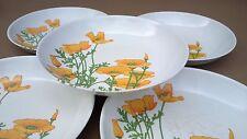 5 assiettes creuses mélamine TEFAL FLEURS ORANGE vintage camping vaisselle