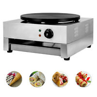 """Electric Crepe Maker Pan 16"""" Baking Pancake Frying Griddle Machine Commercial"""