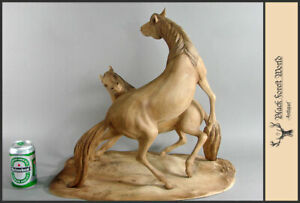wooden hand carved wild horse horses signed