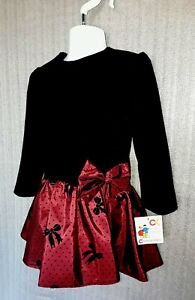 Red/Black Girls Velvet and Satin Party Dress - Age 2 years