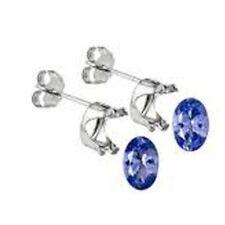 Screw Back (pierced) Tanzanite White Gold Fine Earrings