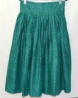 Vintage Teal Green Floral with White Rhinestones Cotton Full Skirt Size 26 Waist