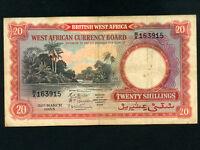 British West Africa:P-10,20 Shillings,1953 * River scene *