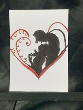 Original ACEO Silhouette Lovers Medium Black Ink Marker on Paper Signed Artist